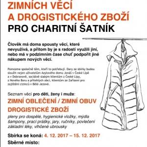 Sbírka zimního oblečení a drogistického zboží